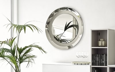CG Surface MIrror 1807 1[4].jpg Surface Mirror. Calligaris. Designed by Caligaris studio. Made in Italy, Round. Oval. CURVED FRAME, MIRRORED ON THE OUTER SIDE AND SATIN FINISHED ON THE INNER SIDE. Bronze. Grey. CG Surface MIrror 1807 1[4].jpg