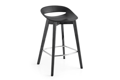 Cosmopolitan Stool: Black Wood Base / Matt Black Seat