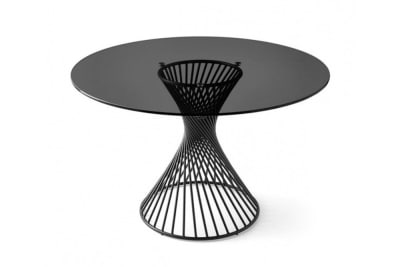 Vortex Table 120cmD: Black/Grey Glass