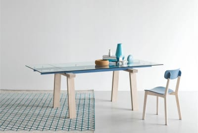 Levante Extension Table Levante Setting Blue Cream Chair  Calligaris Levante, Claire M Metal