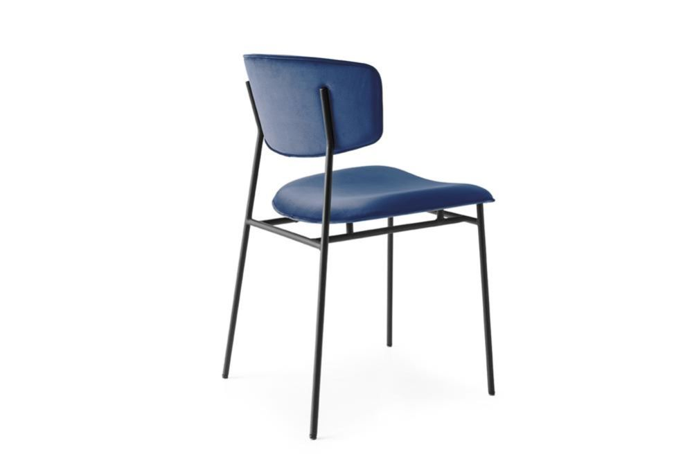 Fifties cs1854 blue velvet black frame  Fifties Chairs - Calligaris  Fifties Chairs - Mid-century midcentury Calligaris Velvet Leather
