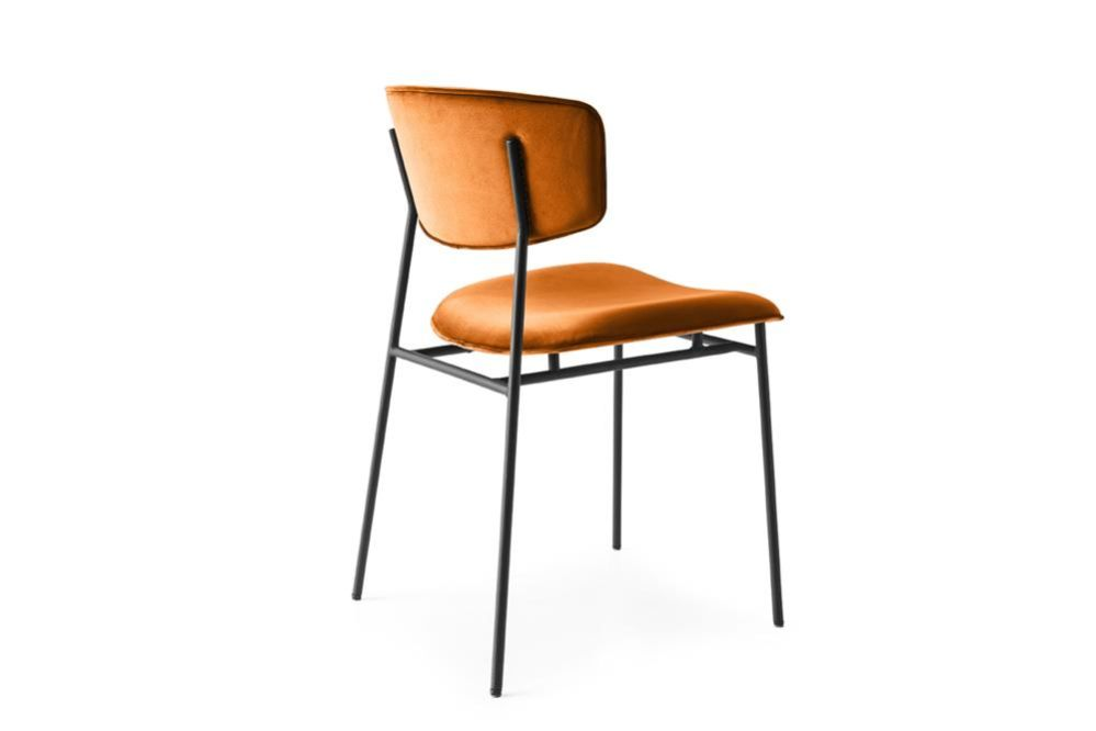 Fifties cs1854 orange velvet black frame  Fifties Chairs - Calligaris  Fifties Chairs - Mid-century midcentury Calligaris Velvet Leather