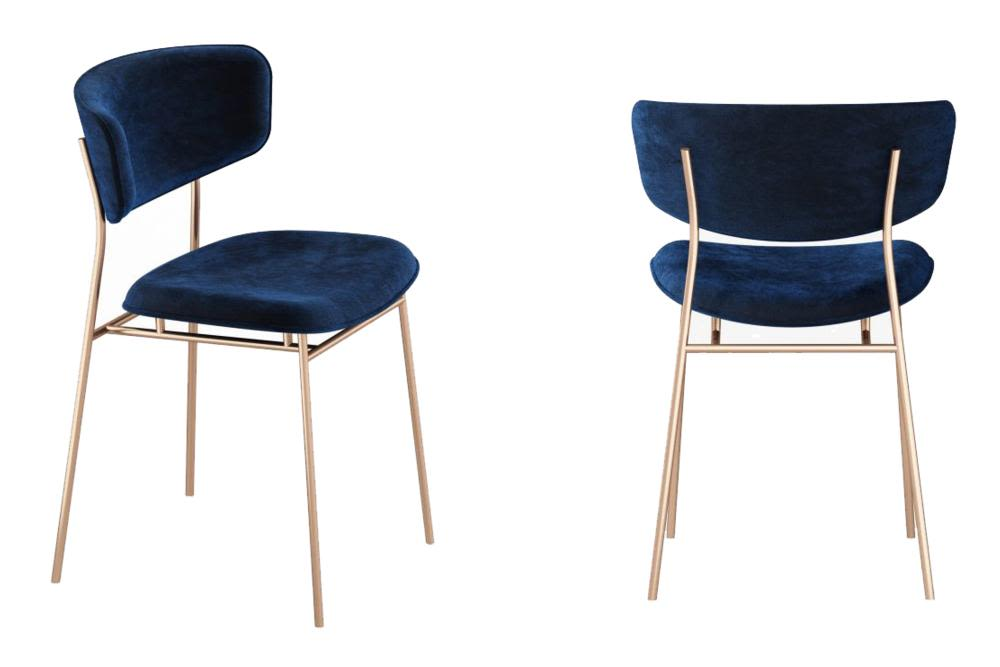 Fifties   Brass And Blue Velvet 2017Calligaris Sedia