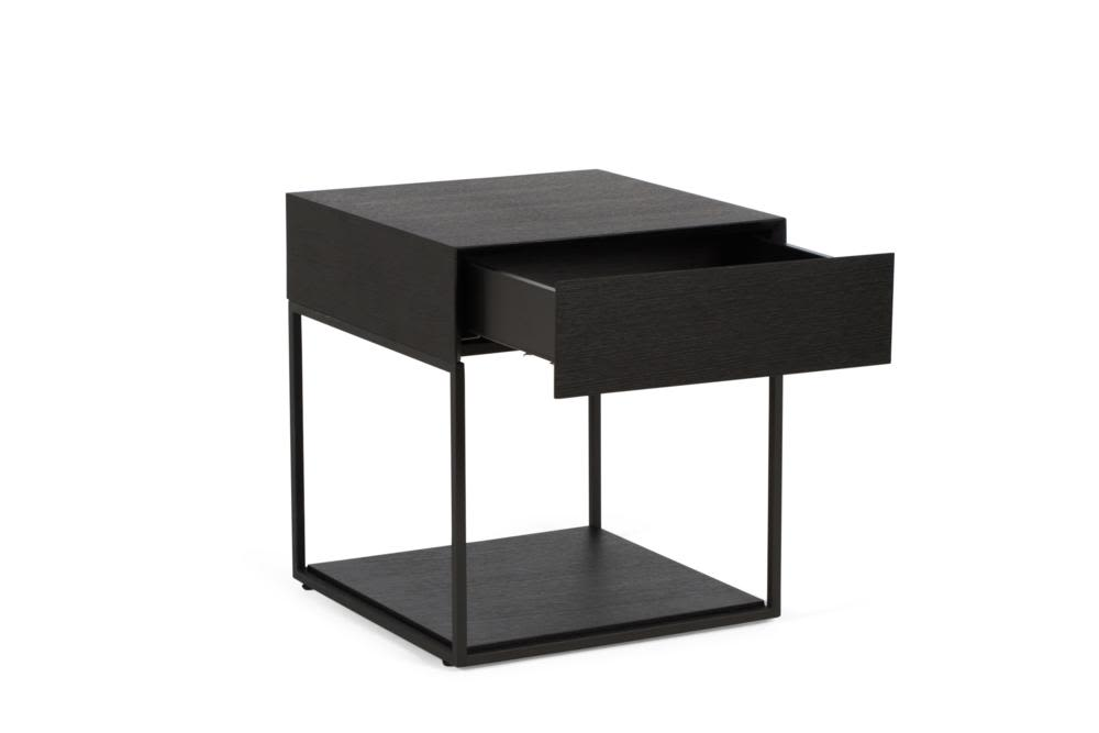 Side tables furniture cubic side table buy side tables and more cubic 1 drawer black oak black steel front angle shot open cubic 1 drawer bedside table watchthetrailerfo