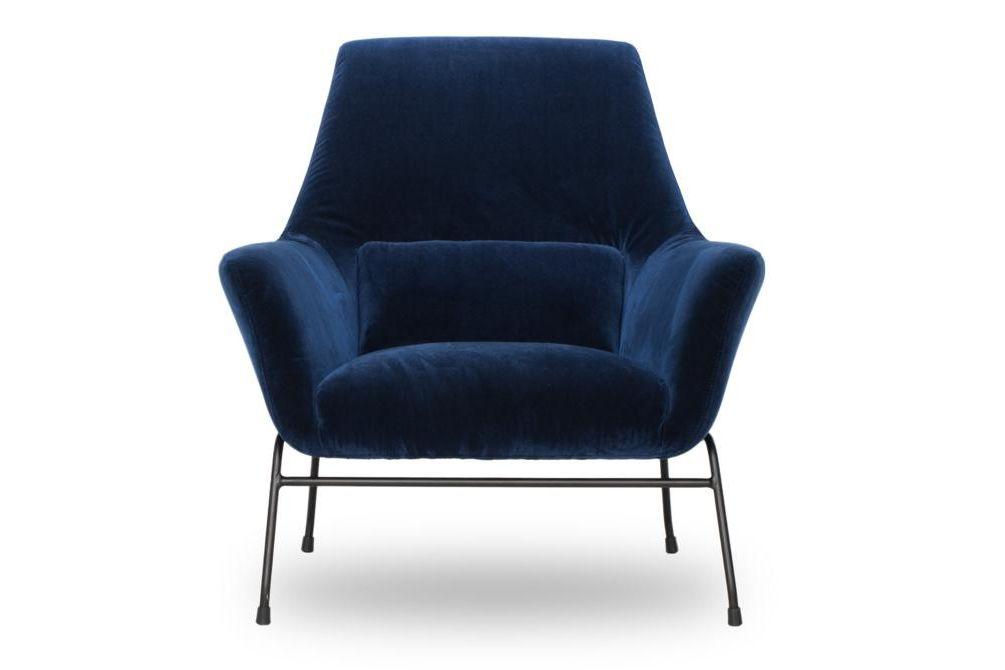 Mies Blue Velvet Front  Mies Armchair Blue Velvet