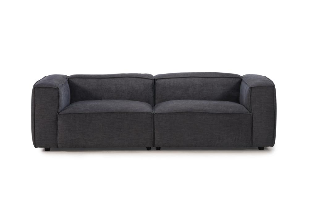 Basso 3 Seater   C 1010 Tivoli Charcoal   Front Straight Shot  Basso 2728 Teknica Charcoal Tivoli C-1010  Teknica Kuka 2728 Basso Charcoal Fabric Slab