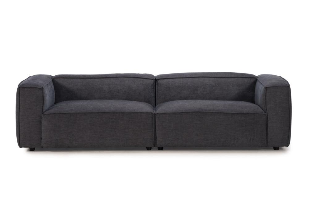 Basso 4 Seater   C 1010 Tivoli Charcoal   Front Straight Shot  Basso 2728 Teknica Charcoal Tivoli C-1010  Teknica Kuka 2728 Basso Charcoal Fabric Slab