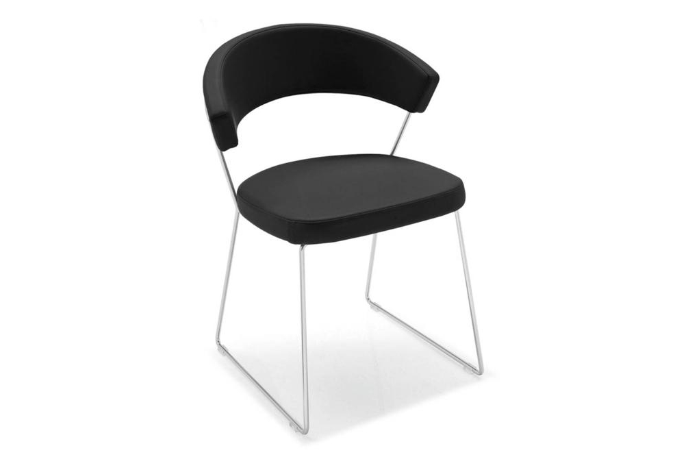 new york sled black New York chairs New York, dining chair, office chair, cantilver, white, black, brown, taupe, sled