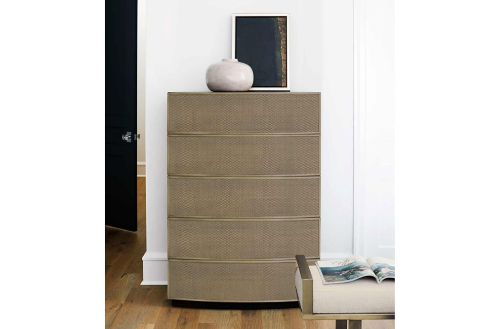 Profile Chest 5 Profile Chest 5.jpg By Bernhardt%5FPush to open Drawers%5FStainless steel frame%5FCurved front%5FWood Plinth Base