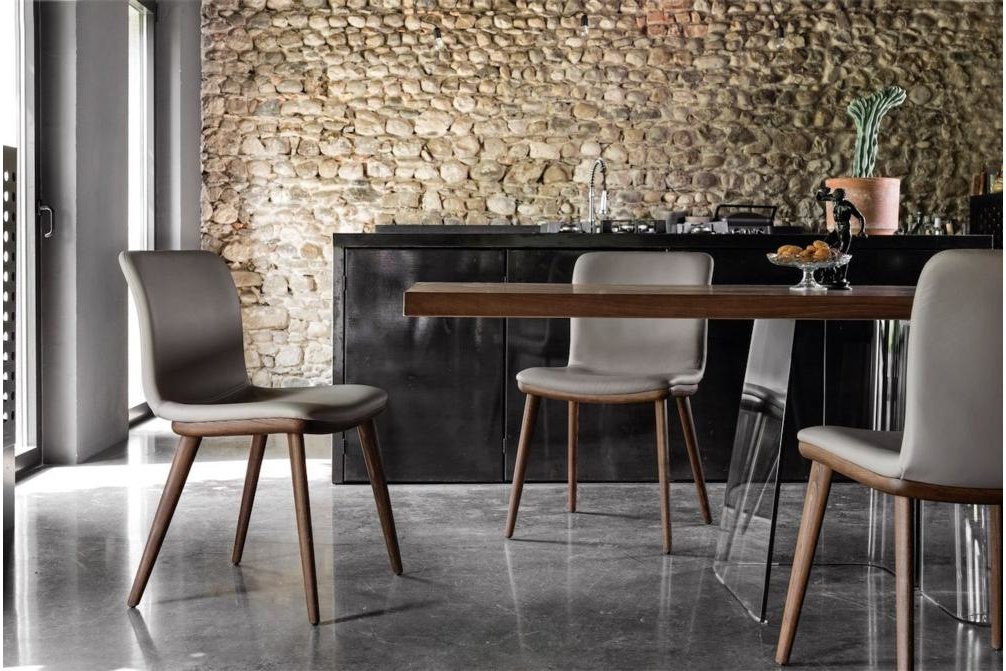 Annie Walnut Leather Setting Annie and Stockholm Dining Chair Annie, Stockholm Calligaris, Leather, Fabric, Dining chair