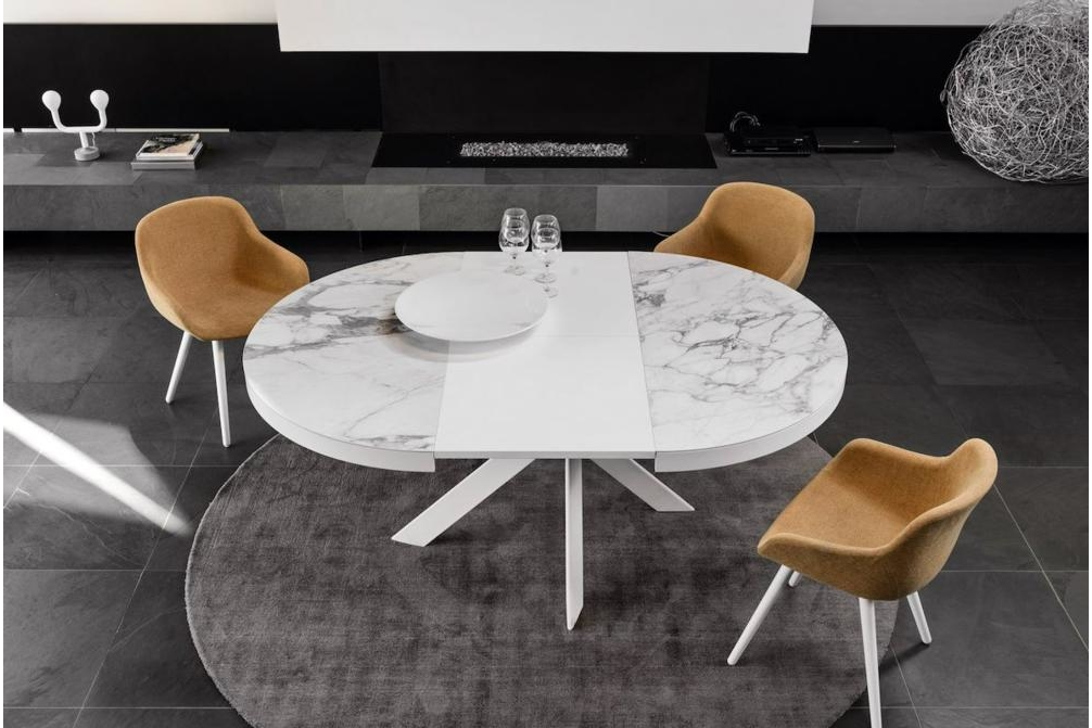 Tivoli Ceramic Marble Open Igloo Setting Annie and Stockholm Dining Chair Annie, Stockholm Calligaris, Leather, Fabric, Dining chair