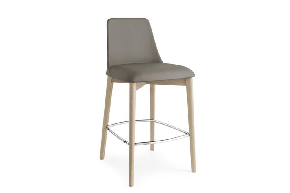 CS 1801 LH Etoile Stool cs1801 Calligaris Etoile Stool cs1801 Calligaris wood timber leg upholstered seat cold cured foam organic shape
