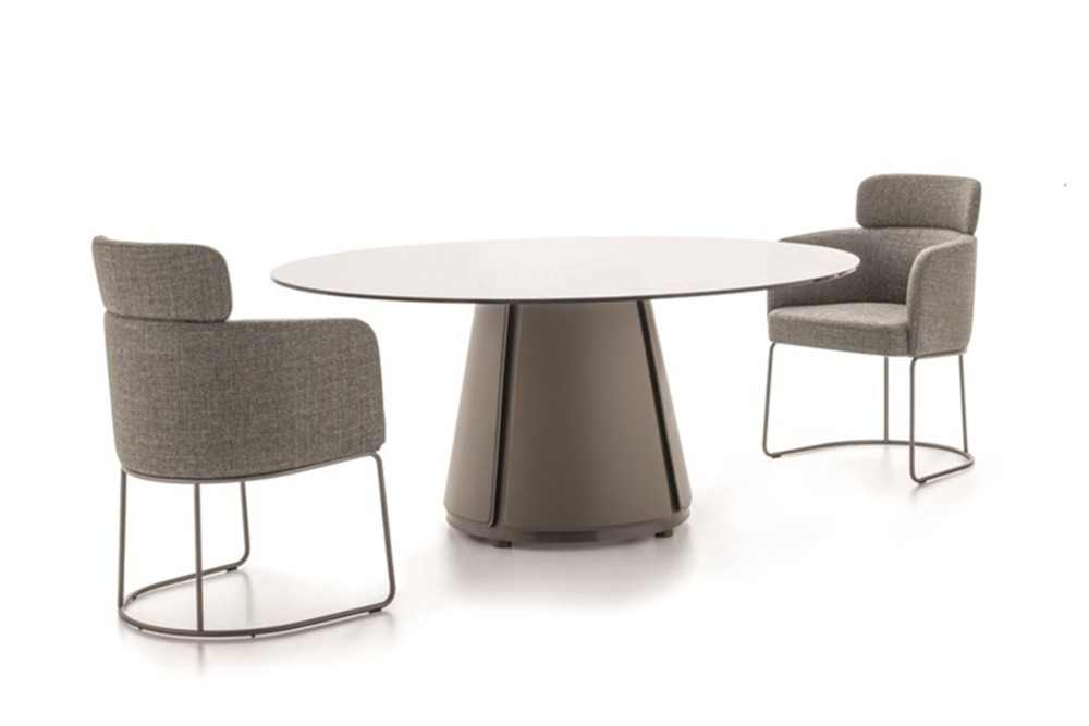 Claire dining table 1 Claire dining table 1.jpg Claire dining table%5FBy Ditre Italia%5F Designed by Daniele Lo Scalzo Moscheri%5FCircular Chair%5F Metal frame%5F leather upholstered base%5F Glass top