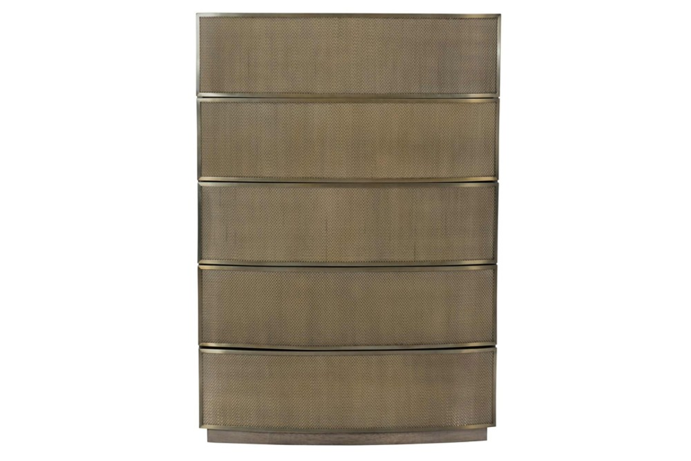 Profile chest 2 Profile chest 2.jpg By Bernhardt%5FPush to open Drawers%5FStainless steel frame%5FCurved front%5FWood Plinth Base