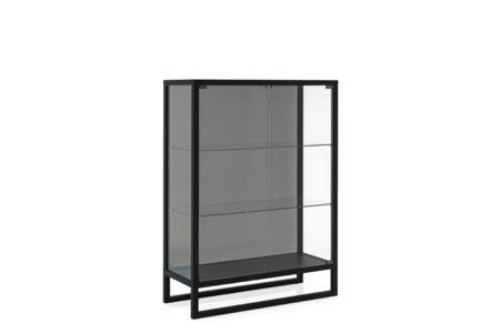 Teca low unit Black Oak Grey Glass Calligaris cs6056 2 P15L GTG Teca Shelf Unit - cs6056 - Calligaris - Grey Glass Teca Shelf Unit - cs6056 - Calligaris - Grey Glass Storage - Elegant Shelf