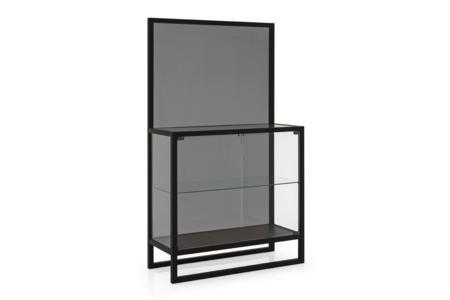 Teca Tall Unit Black Oak Grey Glass Calligaris cs6056 1 P15L GTG Teca Shelf Unit - cs6056 - Calligaris - Grey Glass Teca Shelf Unit - cs6056 - Calligaris - Grey Glass Storage - Elegant Shelf