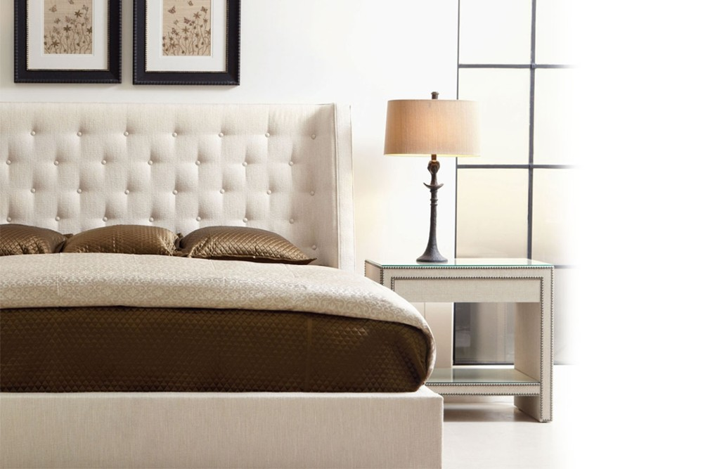 Maxime 1 Maxime 1.jpg By Bernhardt%5F Fully Upholstered buttoned headboard%5FThree slat support