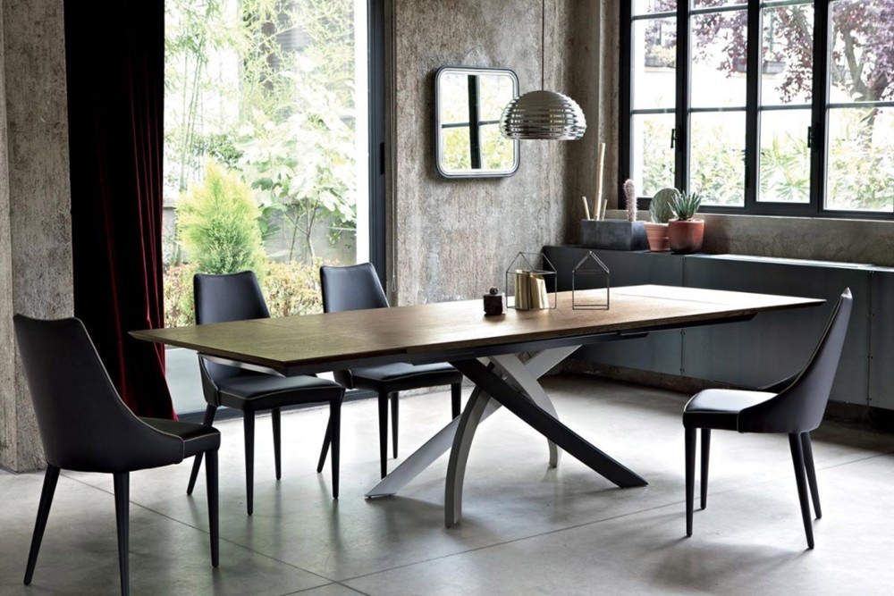 Artistico 3 Artistico 3.jpg By Bontempi Casa%5F Table fix or with extensions%2C with lacquered Metal frame%2E Top in solid Wood%2C veneer with edge in solid Wood%2C heritage walnut solid Wood%2C veneer%2C lacquered Wood%2C glossy Glass%2C velvet matt Anti%2Dscratch Glass%2C Superceramic%2C SuperMarble SuperConcrete or natural Marble%2E