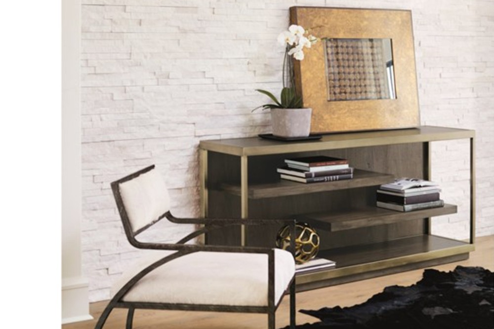 Profile%20console%202.jpg By Bernhardt_Profile console_Figured flat cut walnut veneer inset top_floating shelves_Stainless steel legs in tapestry gold finish with open front and ends_Adjustable glides Profile%20console%202.jpg