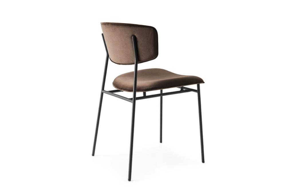 Fifties cs1854 P15 S0G soil brown velvet black frame Fifties Chairs - Calligaris Fifties Chairs - Mid-century midcentury Calligaris Velvet Leather
