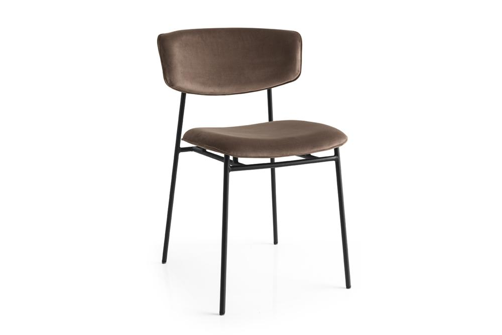 Fifties cs1854 P15 S0G Soild Brown Front Angle Fifties Chairs - Calligaris Fifties Chairs - Mid-century midcentury Calligaris Velvet Leather