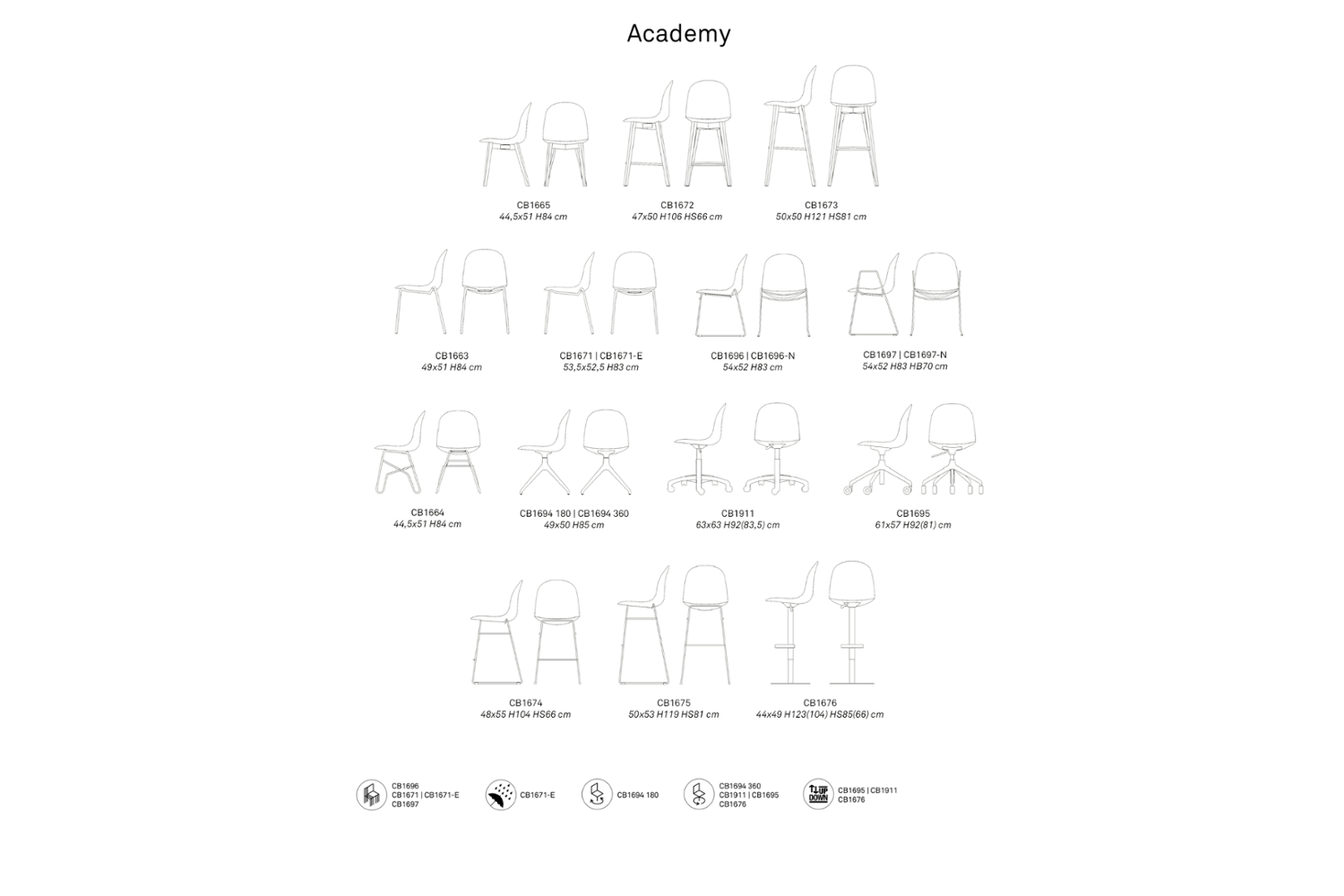 ACADEMY SCHEMATIC CONNUBIA1 ACADEMY SCHEMATIC CONNUBIA1.png connubia schematic dining armchair seating 2020