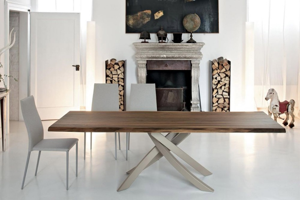 Artistico 4 Artistico 4.jpg By Bontempi Casa%5F Table fix or with extensions%2C with lacquered Metal frame%2E Top in solid Wood%2C veneer with edge in solid Wood%2C heritage walnut solid Wood%2C veneer%2C lacquered Wood%2C glossy Glass%2C velvet matt Anti%2Dscratch Glass%2C Superceramic%2C SuperMarble SuperConcrete or natural Marble%2E