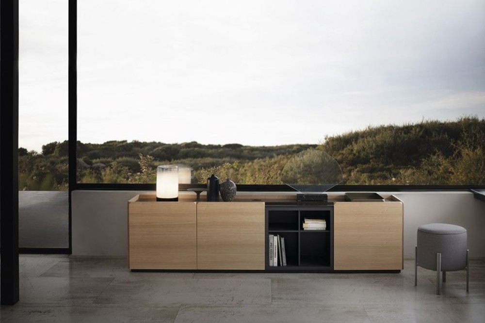 Pica%206.jpg Pica sideboard _Bontempi casa_Wooden sideboard with two hinged doors, inside clear glass shelf, side panels and doors in veneer wood, top to choose. Frame and feet in lacquered metal. Pica%206.jpg