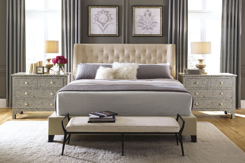 Maxime 3 Maxime 3.jpg By Bernhardt%5F Fully Upholstered buttoned headboard%5FThree slat support