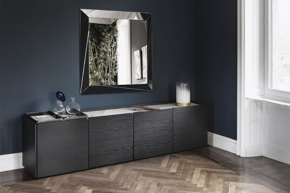 Pica%205.jpg Pica sideboard _Bontempi casa_Wooden sideboard with two hinged doors, inside clear glass shelf, side panels and doors in veneer wood, top to choose. Frame and feet in lacquered metal. Pica%205.jpg