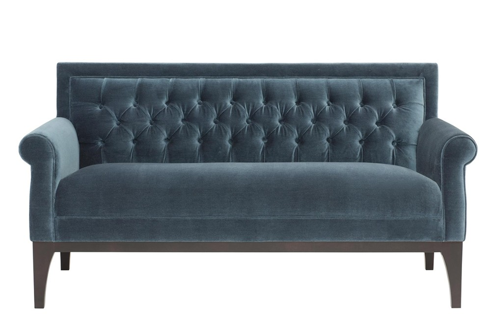 Faye%20Settee%201.jpg Faye Settee _By Bernhardt_ Tufted back_ Rounded top curved arm detail_ Wooden frame and feet_ Fabric upholstery_Single seat cushion_Contemporary design Faye%20Settee%201.jpg