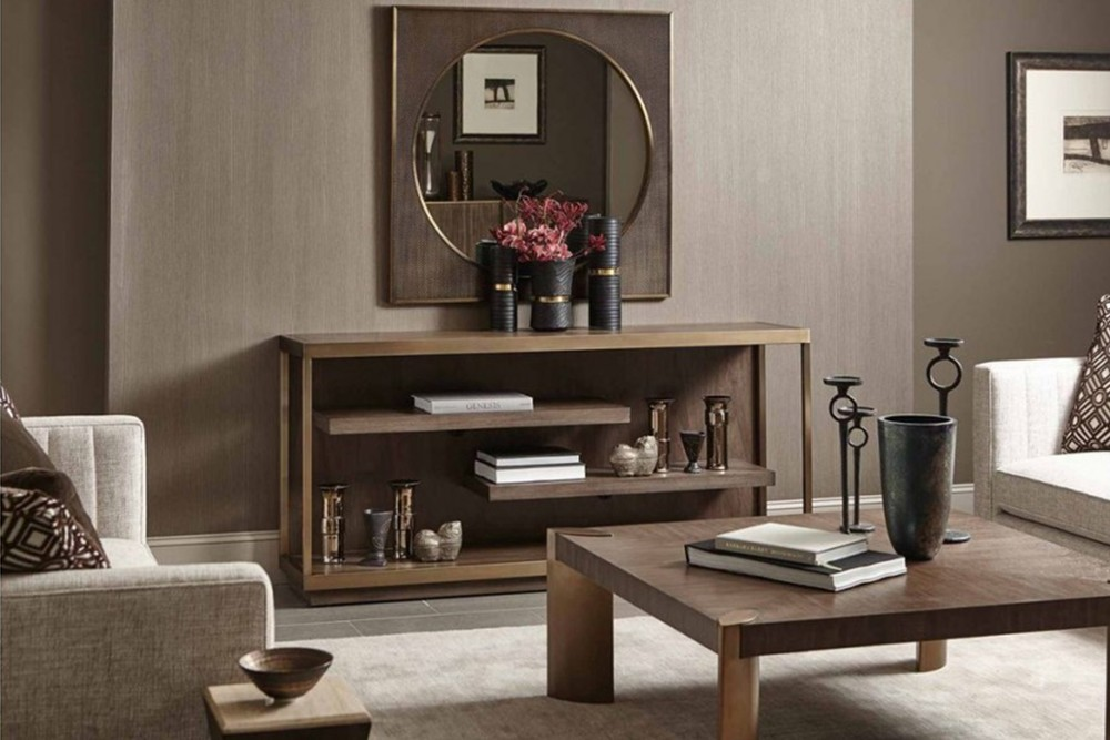 Profile%20console%201.jpg By Bernhardt_Profile console_Figured flat cut walnut veneer inset top_floating shelves_Stainless steel legs in tapestry gold finish with open front and ends_Adjustable glides Profile%20console%201.jpg