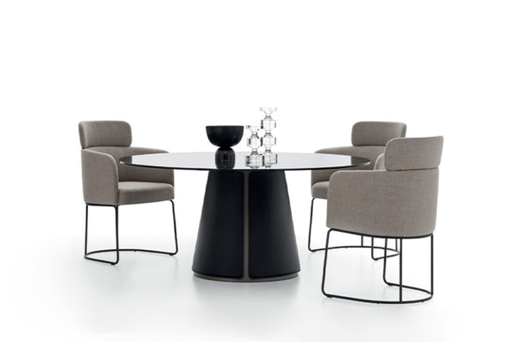 Claire dining table 4 Claire dining table 4.jpg Claire dining table%5FBy Ditre Italia%5F Designed by Daniele Lo Scalzo Moscheri%5FCircular Chair%5F Metal frame%5F leather upholstered base%5F Glass top