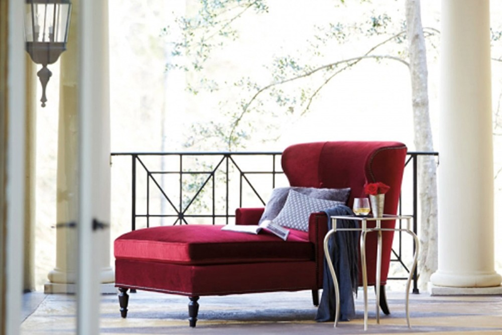 Nadine Chaise 2 Nadine Chaise 2.jpg By Bernhardt%5FFabric Upholstery%5FNailhead Trim%5FCurved Back and Arms%5FDecorative feet