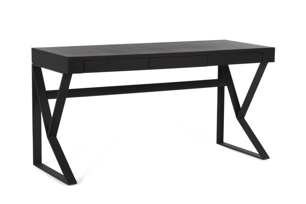 Bend Desk Black Top Black Legs drawers closed Bend Desk Elementa Drawers Compact Bend Desk Elementa Drawers Compact Better Bona Industrial Desk