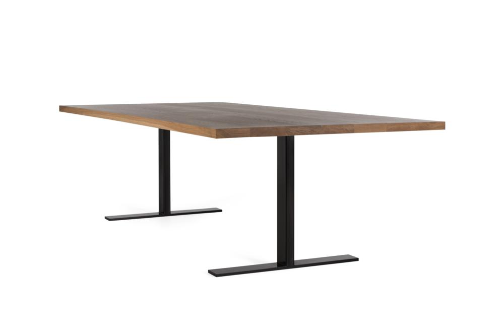 Husky Table Natural American Oak Top Black Girder Base Husky Table - Modular Base System Modular Bases Sled Girder American Oak Husky Table - Modular Base System Modular Bases Sled Girder American Oak Locally made in Melbourne - Solid Timber Tables - Pedestal Cantilever High quality structure