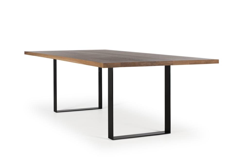 Husky Table Natural American Oak Top Black Sled Base Husky Table - Modular Base System Modular Bases Sled Girder American Oak Husky Table - Modular Base System Modular Bases Sled Girder American Oak Locally made in Melbourne - Solid Timber Tables - Pedestal Cantilever High quality structure