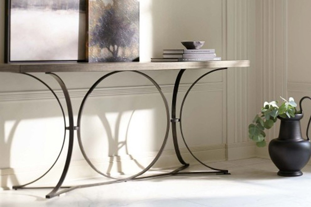 Canyon Ridge console 2 Canyon Ridge console 2.jpg By Bernhardt%5FWire Brushed Wood Top%5FOpen metal base in Blackened Bronze finish%5F