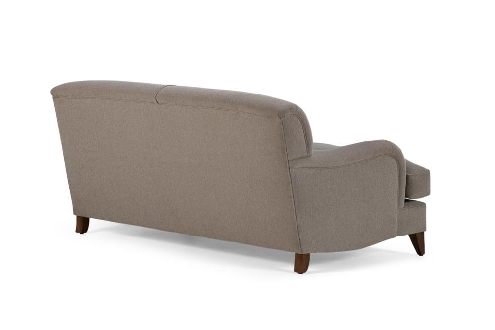 P Arm sofa Fixed Back Beige Fabric Back Angle Shot P-Arm Sofa - Cover - Made in Melbourne P-Arm Uncle Buck Fixed Back - Fabric sofa - Made in Melbourne - Best classic hamptons sofas english french
