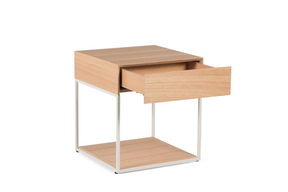 Cubic 1 Drawer Natural Oak White Steel Front Angle Shot open Cubic 1 Drawer Bedside Table - Elementa Cubic 1 Drawer Bedside Table - Elementa - Metal and timber bedsides Industrial style bedside table - soft close runners - mitre edge veneer Better Bona
