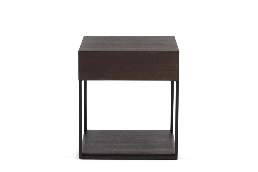 Cubic 1 Drawer Smoke Oak Black Steel Front Shot Cubic 1 Drawer Bedside Table - Elementa Cubic 1 Drawer Bedside Table - Elementa - Metal and timber bedsides Industrial style bedside table - soft close runners - mitre edge veneer Better Bona
