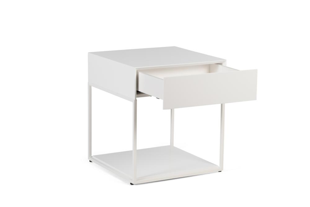 Cubic 1 Drawer White Paint and White Steel Front Angle Shot open Cubic 1 Drawer Bedside Table - Elementa Cubic 1 Drawer Bedside Table - Elementa - Metal and timber bedsides Industrial style bedside table - soft close runners - mitre edge veneer Better Bona
