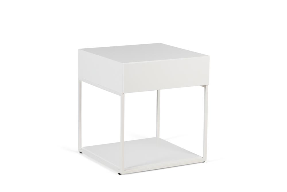 Cubic 1 Drawer White Paint and White Steel Front Angle Shot Cubic 1 Drawer Bedside Table - Elementa Cubic 1 Drawer Bedside Table - Elementa - Metal and timber bedsides Industrial style bedside table - soft close runners - mitre edge veneer Better Bona