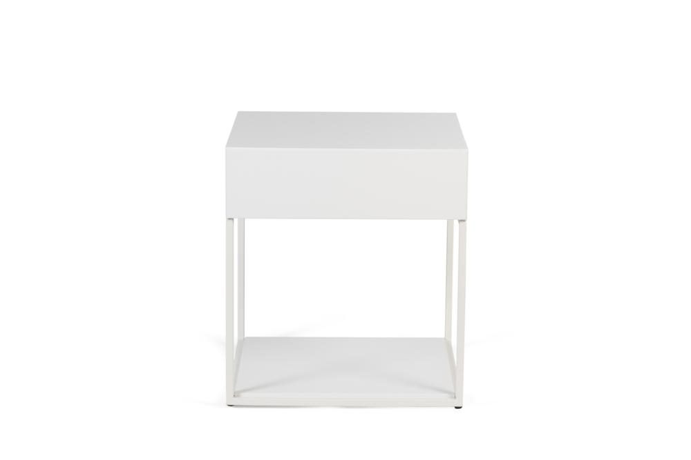 Cubic 1 Drawer White Paint with White Steel Front Shot Cubic 1 Drawer Bedside Table - Elementa Cubic 1 Drawer Bedside Table - Elementa - Metal and timber bedsides Industrial style bedside table - soft close runners - mitre edge veneer Better Bona