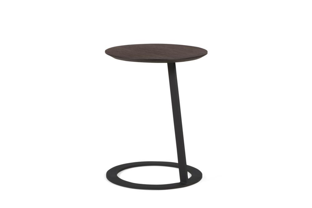 Porto Side Table Smoke Oak and Black Metal Base Porto Side table - Elementa - Over cushion Side table Porto Side table - Elementa - Over cushion Side table - Bring drinks closer - Better Bona