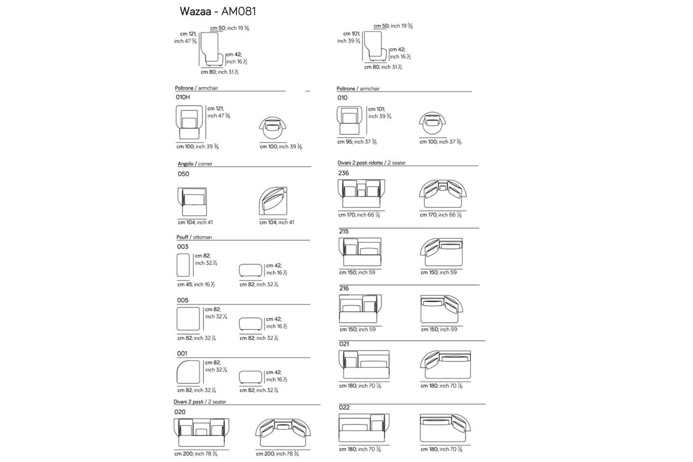 Wazaa new spec sheet 1 Wazaa new spec sheet 1.jpg Wazaa Sofa%5F By Amura%5F Designed by Stefano Bigi%5FInformal Modular options%5F Sinewy Lines%5F Fifties taste%5F Leather or fabric options