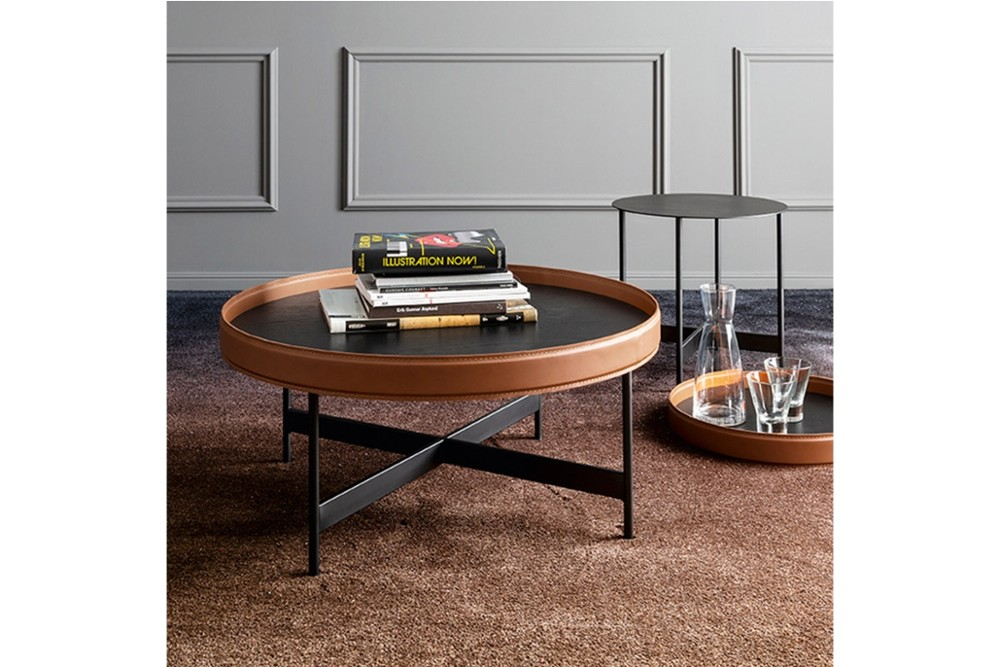 Arena%20table%203.jpg Arena Complementary furniture_Coffee table_Side table_Calligaris_Designed by Radice Orlandini_Made in italy_Round wooden top with raised edges_Regenerated Leather upholstry_Sphere_Wood rimmed_removable tray Arena%20table%203.jpg