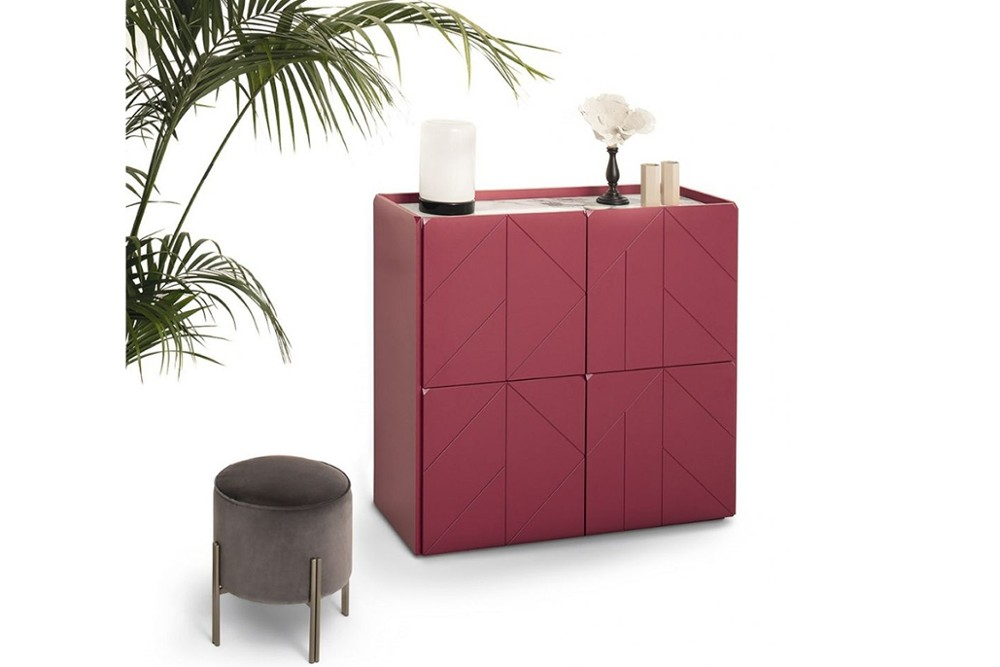 Pica%204.jpg Pica sideboard _Bontempi casa_Wooden sideboard with two hinged doors, inside clear glass shelf, side panels and doors in veneer wood, top to choose. Frame and feet in lacquered metal. Pica%204.jpg
