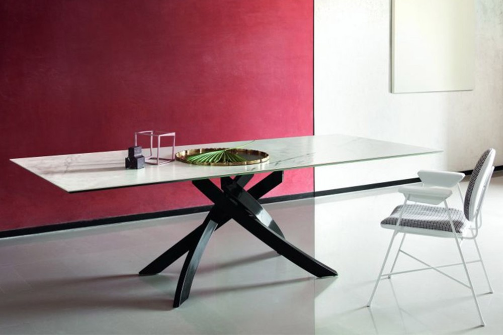 Artistico 2 Artistico 2.jpg By Bontempi Casa%5F Table fix or with extensions%2C with lacquered Metal frame%2E Top in solid Wood%2C veneer with edge in solid Wood%2C heritage walnut solid Wood%2C veneer%2C lacquered Wood%2C glossy Glass%2C velvet matt Anti%2Dscratch Glass%2C Superceramic%2C SuperMarble SuperConcrete or natural Marble%2E