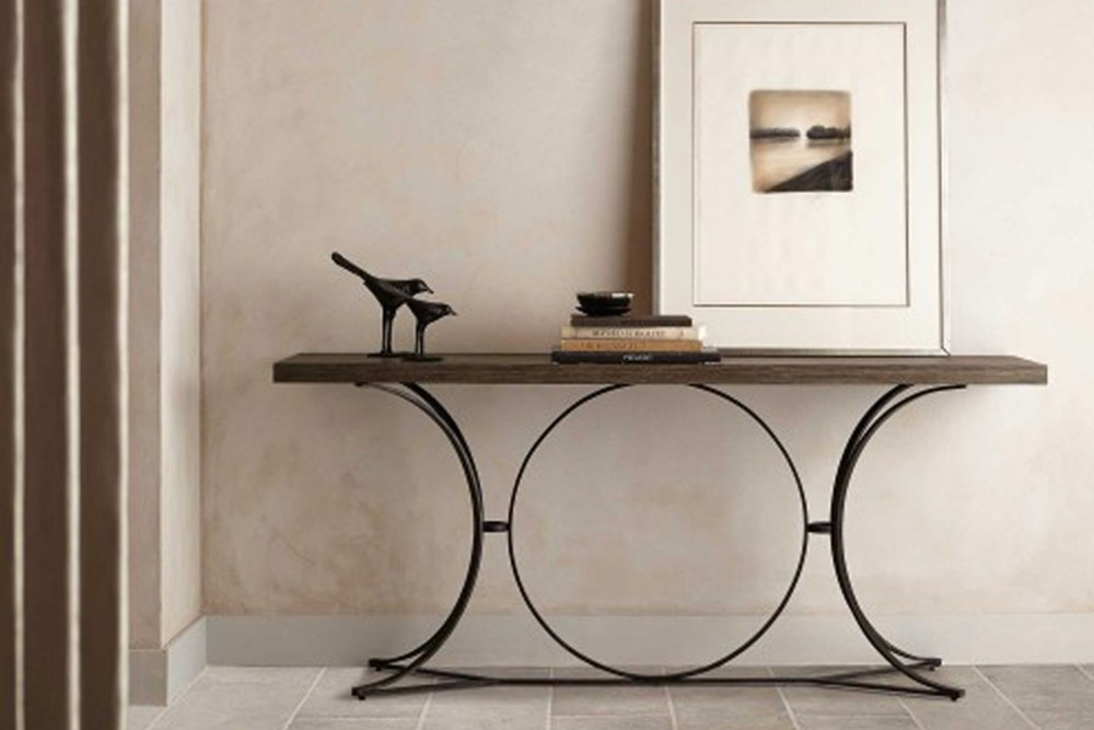 Canyon Ridge Console 3 Canyon Ridge Console 3.jpg By Bernhardt%5FWire Brushed Wood Top%5FOpen metal base in Blackened Bronze finish%5F